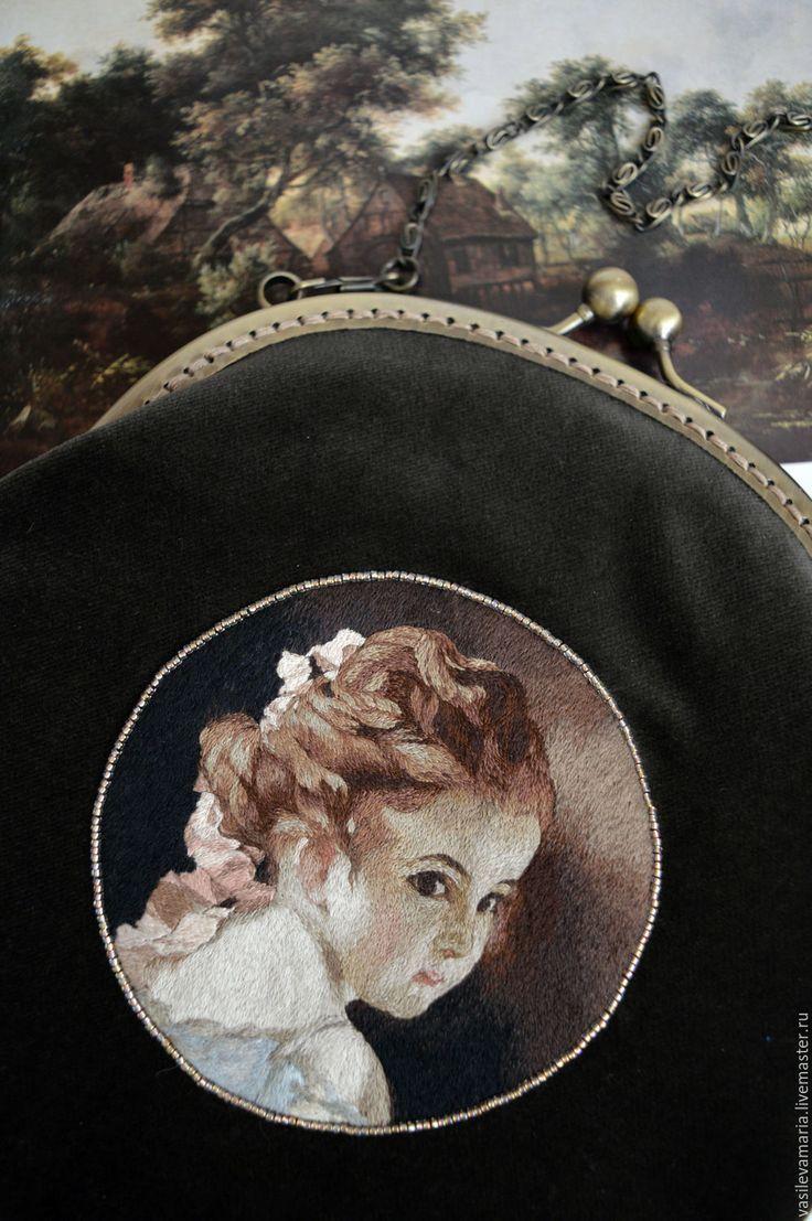 """Купить Сумочка """"Портрет девочки"""" - рисунок, комбинированный, бархатный, сумочка, вечерняя сумочка,…"""