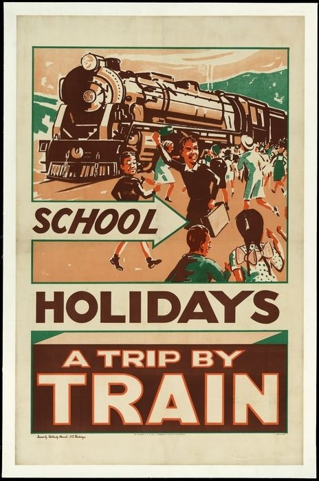 New Zealand Railways. Publicity Branch :School holidays; a trip by train. Issued by Publicity Branch, N.Z. Railways. By authority, E V Paul, Government Printer, Wellington. 2,400L21,881/38 [1938]