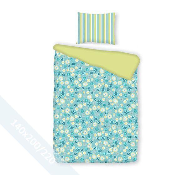 Romanette dekbedovertrek 'Sterre' Aqua. Een éénpersoons (140x200/220 cm) dekbedovertrek van 100% katoen met als basis een mooie aqua blauwe achtergrond en daarop een mooi patroon van bloemetjes in verschillende kleuren.