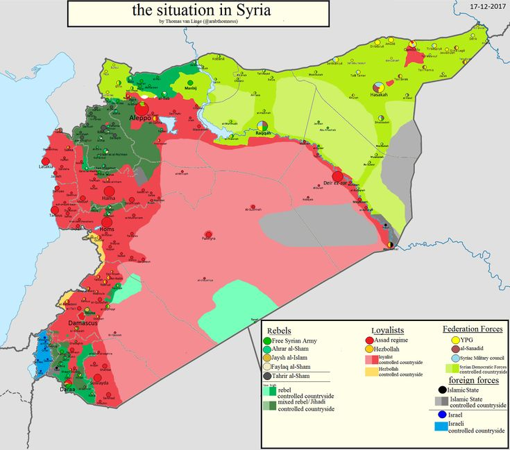 The situation in Syria as of December 17, 2017.