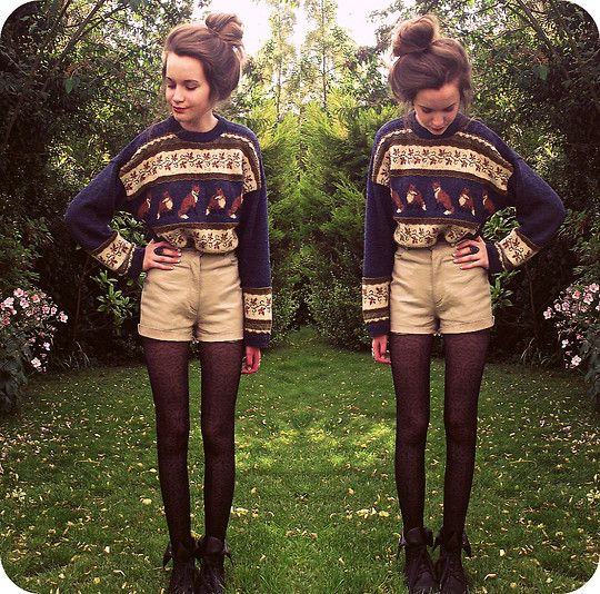 #winter sweater with high waisted shorts.