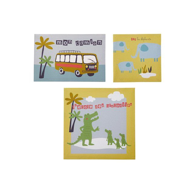 3 kaders voor kinderkamer thema Safari bus
