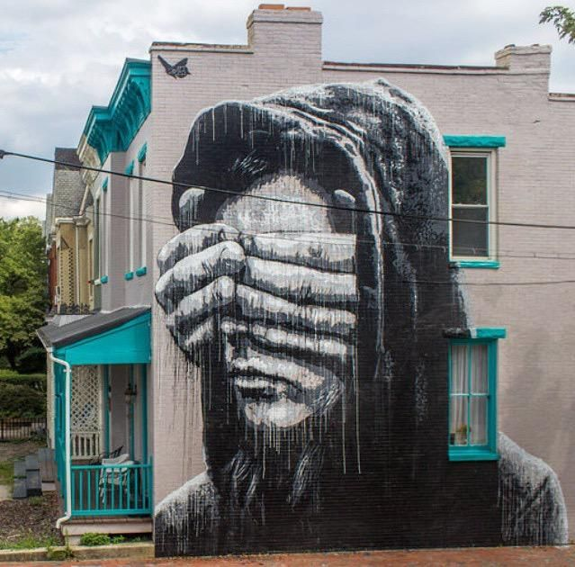 Te fermer les yeux n'est pas la solution ! / Street art. / Richmond, Virginia, USA. / By Nils Westergard.