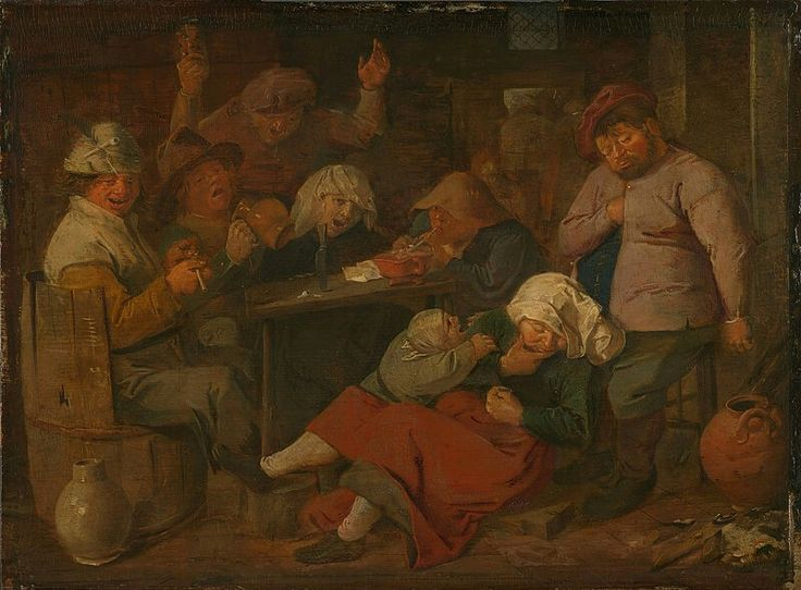 Adriaen Brouwer  ( –1638) Party of drinking peasants  Datebetween 1620 and 1630Mediumoil on panelDimensionsHeight: 19.5 cm (7.7 in) Width: 26.5 cm (10.4 in)Current location  Rijksmuseum Amsterdam