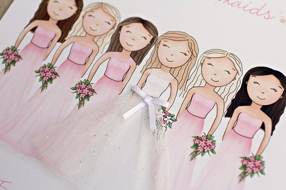 Bride and Bridesmaids Art Print Bridesmaid by SweetCheeksImages
