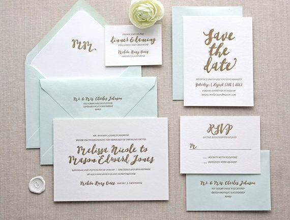 The Malibu letterpress wedding invitation can be customized with your choice of wording, fonts, colors, corner rounding, envelope lining and