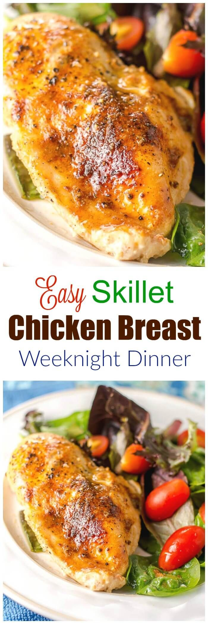 This Easy Skillet Chicken Breast Weeknight Dinner is simple and delicious and can be on the dinner table in 30 minutes. via @flavormosaic