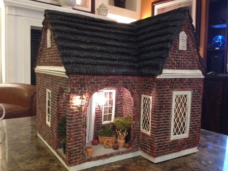 Miniature Brick House made out of paper.