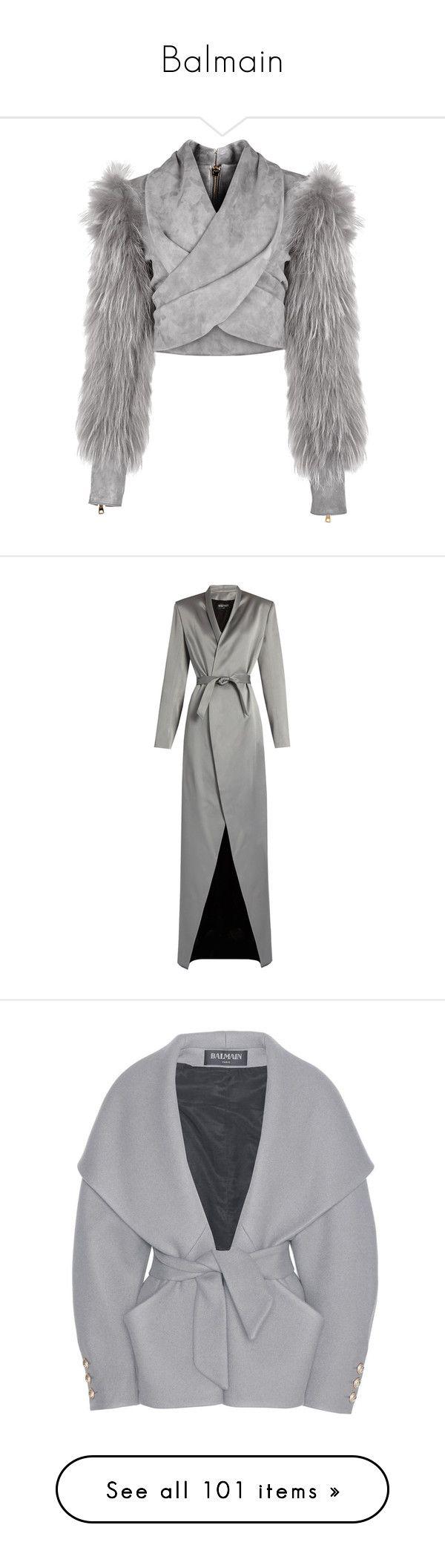"""Balmain"" by mari-sv ❤ liked on Polyvore featuring outerwear, jackets, gray jacket, balmain, balmain jacket, suede fur jacket, cropped jacket, coats, grey and grey coat"