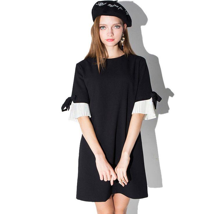 Spring New Fashion Elegant Women Dress Bow Cuff Half Sleeve Dress Women Solid Color O-neck Dresses Plus Size S-XXL