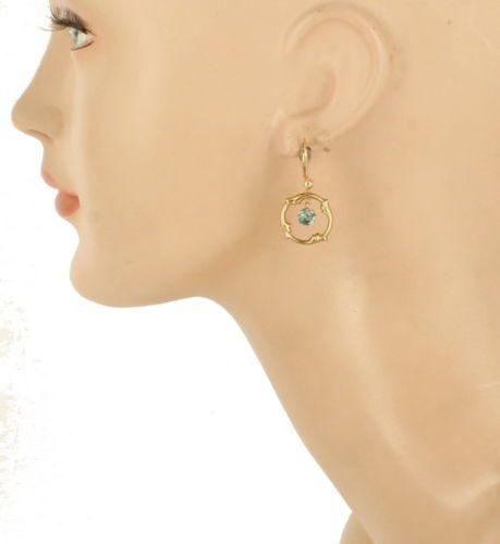 Vintage-14K-Gold-9CTTW-Blue-Topaz-Dangle-Fleur-De-Lis-Orbs-Lever-Earrings-1-25-034