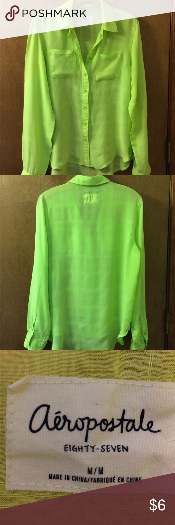 Aeropostale Lime Green Shirt This unstructured shirt is 100% rayon with long sleeves. There are two front patch pockets at the breast. Beautiful, bright green for spring and summer! Aeropostale Tops Button Down Shirts