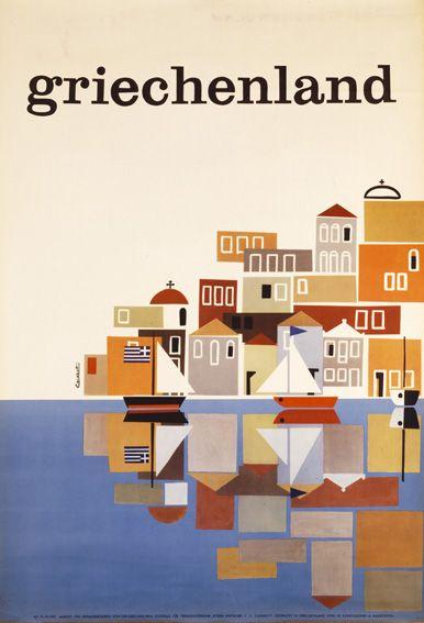 Vintage travel poster of Greece designed by Freddie Carabott 1960's #kitsakis