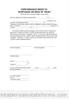 Free perf mortgage addendum Printable Real Estate Forms