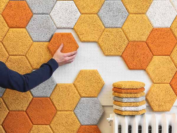 """Colorful Hexagonal Wall Tiles Made From Sound-Absorbing """"Wood Wool"""" 
