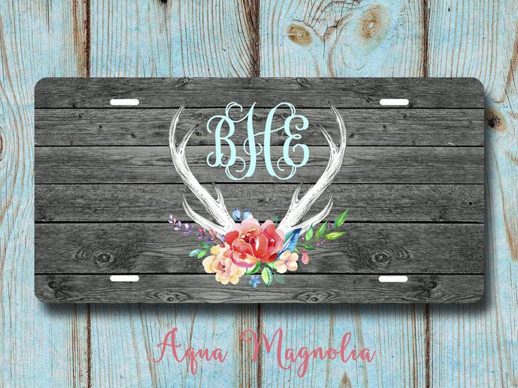 Floral Deer Antlers, Vintage, Boho, Dark Grey Weathered Wood - Personalized - License Plate - Aluminum - Monogrammed - Car Tag by AquaMagnolia on Etsy