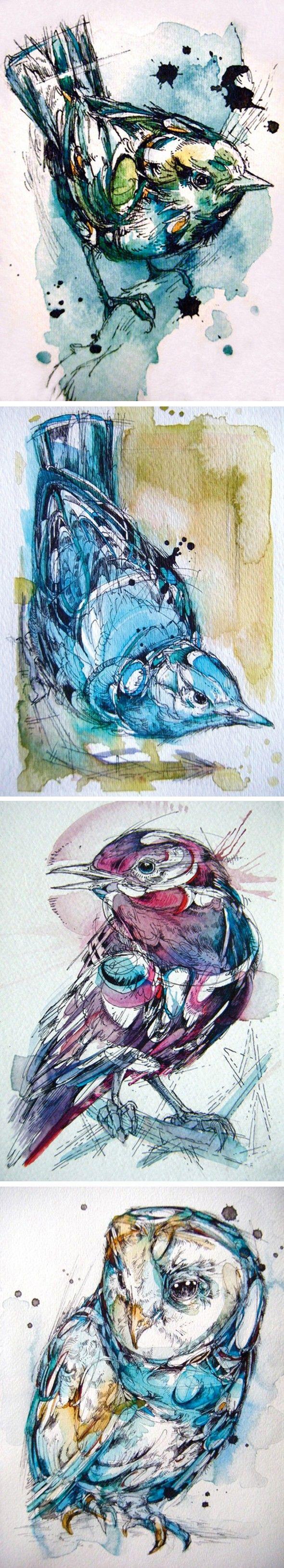 Dessins et peintures d'oiseaux par Abby - Journal du Design