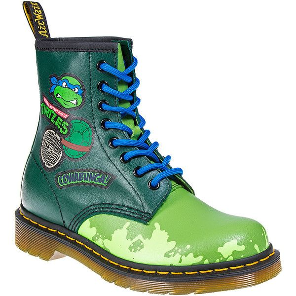 Dr Martens Leo TMNT 1460 Boots (Green) ($78) ❤ liked on Polyvore featuring shoes, boots, dr martens footwear, dr martens shoes, green boots, dr. martens and green shoes