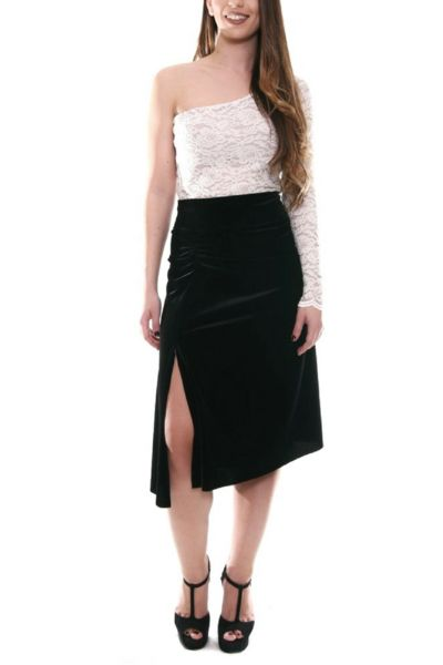 conDiva Gathered Velvet Tango Skirt with Slits paired with a lace top.  Available in many colors.  #tangoskirt #tangooutfit #milongaoutfit #tangoclothes