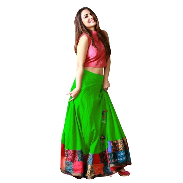 Buy Green Color Banglori Silk With Digital Print Work Semi-Stitched Lehenga Choli Online at cheap prices from Shopkio.com: India`s best online shoping site