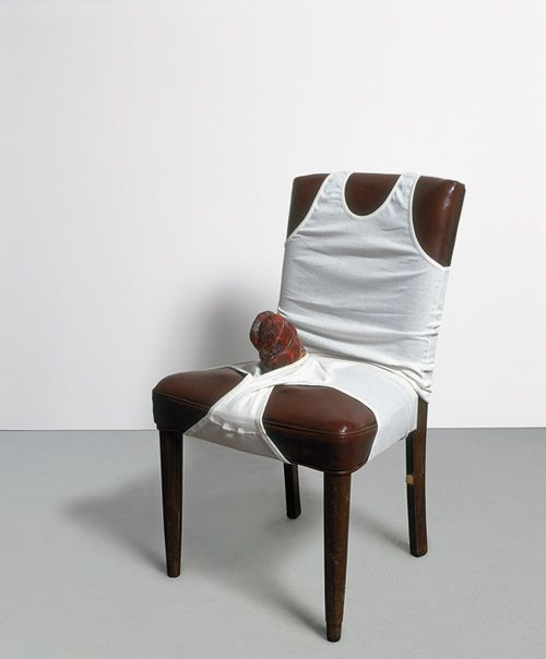 Sarah Lucas  Tongue and Groove, Always Goes Down Well 2000  Chair, vest, pants and meat   85 x 49.5 x 49.5 cm 33½ x 19½ x 19½""
