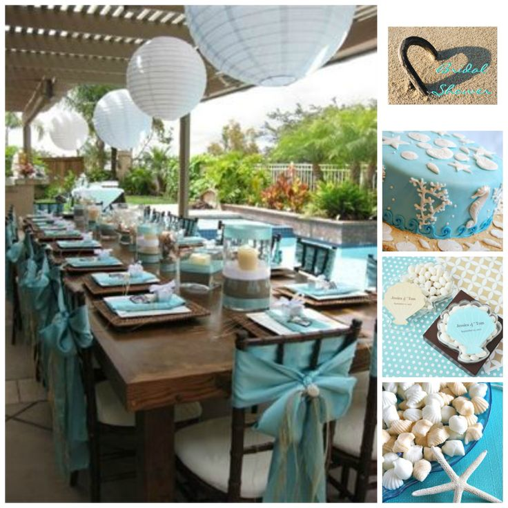 Gorgeous Beach Bridal Shower Inspiration Board on 3d-memoirs.com! Stop by to view some amazing #DIY projects for a beach bridal shower theme!
