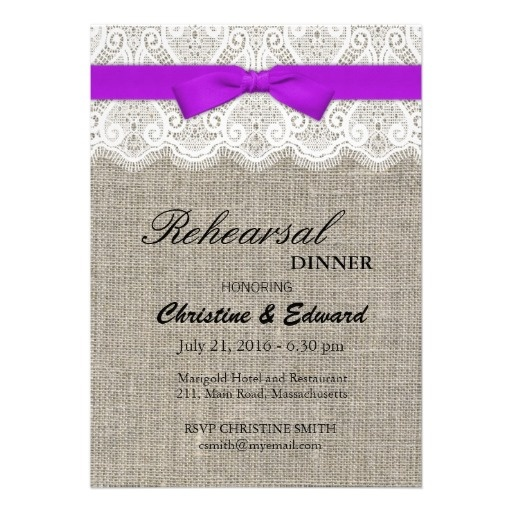 Purple Bow and Lace Wedding Rehearsal Dinner Invites