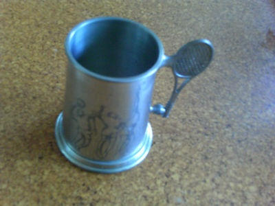 Pewter tennis stein Sold