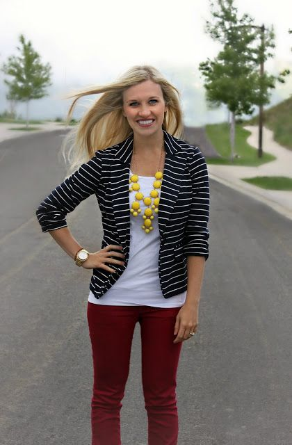 White top, black and white striped blazer, red pants, and statement bubble necklace...nice outfit!