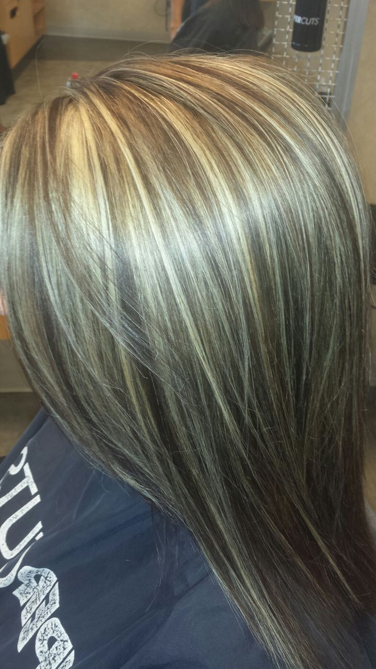 Synchro with 5n in paul mitchell thin weaves on top. Blonde highlights with brown base. #highlights