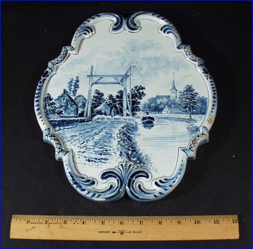 Antique Delft Blue Holland Hand Painted Wall Plaque