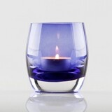 Chunky Glass Oval Tealight Holder - Purple
