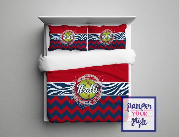 Fastpitch Softball Comforter - Fastpitch Softball Duvet - Fastpitch Softball Pillowcase - Zebra and Softball Bed - Pick Your Colors