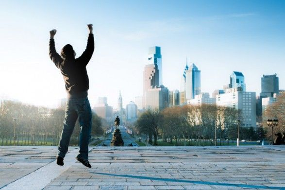 """The six-film """"Rocky"""" franchise (with a seventh in the works) showcases locations all over the city. But the most iconic site by far is the Philadelphia Museum of Art, where Rocky Balboa famously ends his workout by running up the 72 steps that lead to the doors of this world-famous museum. (Photo credit: Visit Philadelphia)"""