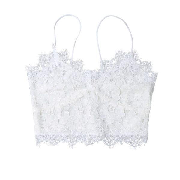 Cami Scalloped Lace Tank Top White ($14) ❤ liked on Polyvore featuring intimates, camis, white lace camisole, white cami, lace camisole, lacy camisole and lace camis