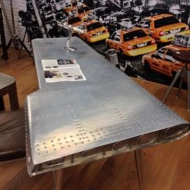 Industrial design airplane wing table