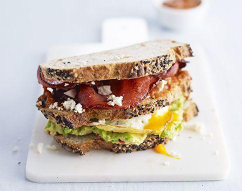 Club sandwich with roast tomato sauce
