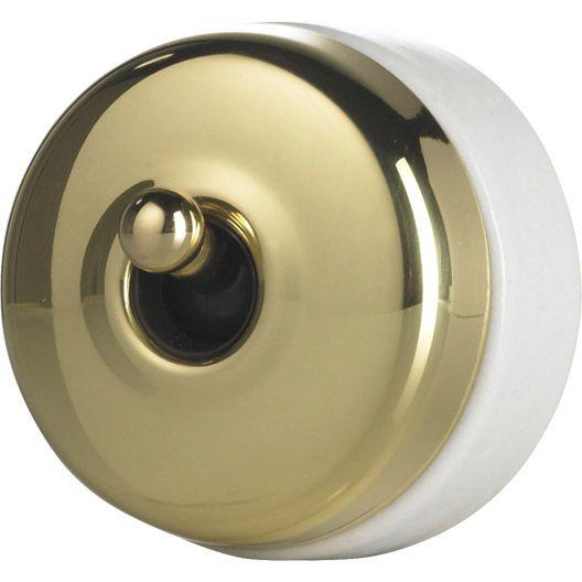 Interrupteur va et vient laiton doré en saillie SCHNEIDER ELECTRIC, Héritage