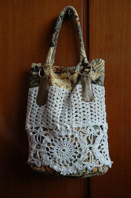Fabric, Crochet & Doily Bag ~ Inspiration!