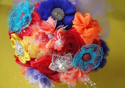 Fun and Flirty Fabric Bridal Bouquet – Baroque Bridal Boutique