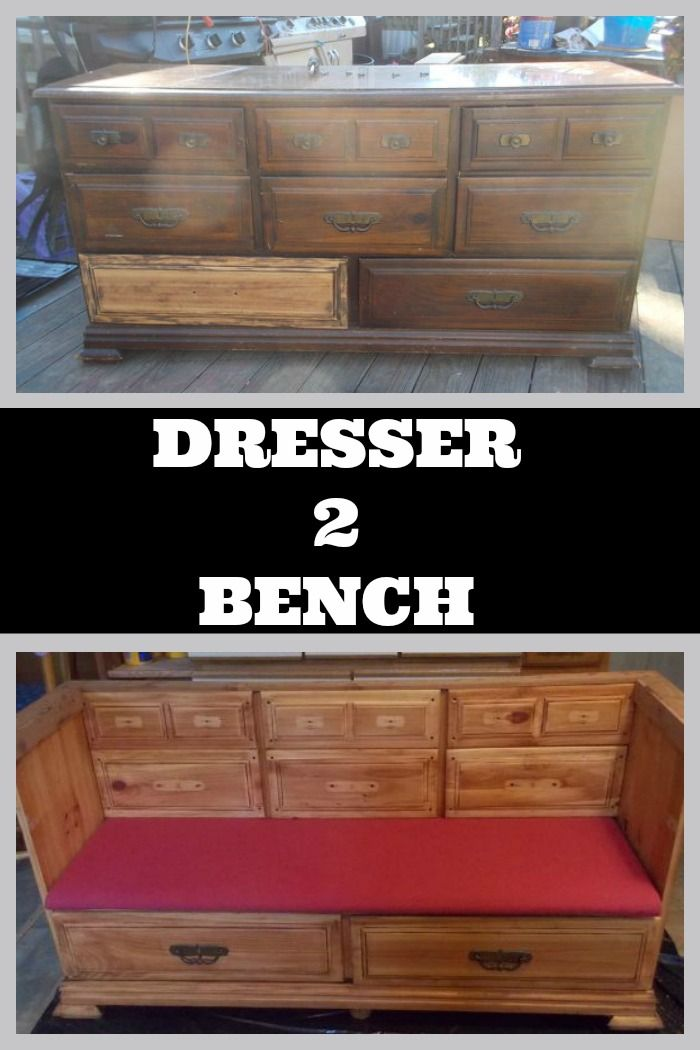 This dresser had seen better days and this savvy DIY'er converted it into a bench with storage!