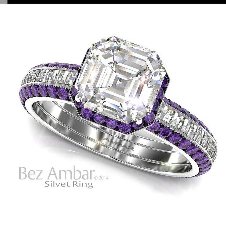 A Silvet Amethyst engagement ring with a 1.01ct Asscher cut diamond center, under bezel amethyst frame and Blaze® diamonds set shank.