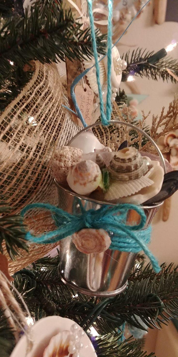 Shell collector bucket ornaments Coastal Christmas Beach Decor