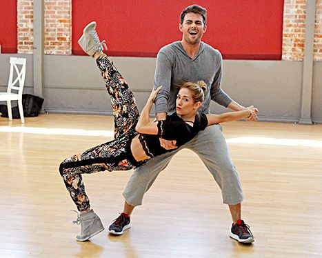 Allison Holker and Jonathan Bennett rehearse for their debut on Dancing With the Stars.