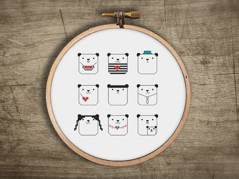 ▲▼▲ super fun small panda emoji cross stitch pattern ▲▼▲  hand designed cross stitch pattern  this pattern comes as a PDF file that you can immediately download after purchase. all our patterns include・  : color block symbols : list of DMC floss needed : choice of 14, 18, or 22 count layout : printable version of final stitched product ▲▼▲ pattern ▲▼▲ floss : 6 DMC colors fabric : pictured on white, but get creative and try something bold + unexpected stitches : 70w x 75h skill level : easy…
