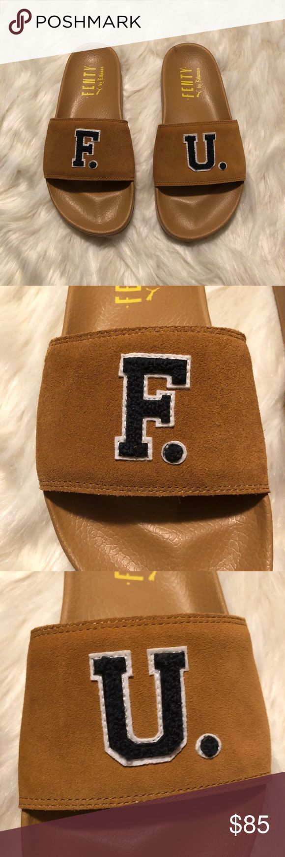 "NWT Puma Fenty by Rihanna Suede Slide Sandals New in box and with dust bag. These sandals are described as a unisex style and are listed a men's size 7 which is equivalent to a women's size 9 according to the Puma website. There is a small indention that is pictured on photo #5 other than that they are in excellent new condition  Details are as follows: -Color : Golden Brown- Scarab -Full suede strap featuring ""F"" and ""U"" badges made of a luxe chenille fabric -Outsole made of durable…"