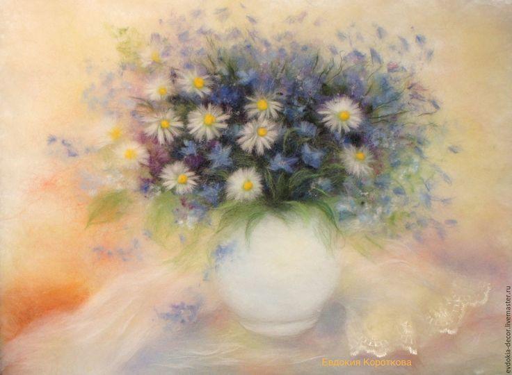 Купить Воздушный букет- Картина из шерсти. - лимонный, картина для интерьера, картина, цветы, картина с цветами