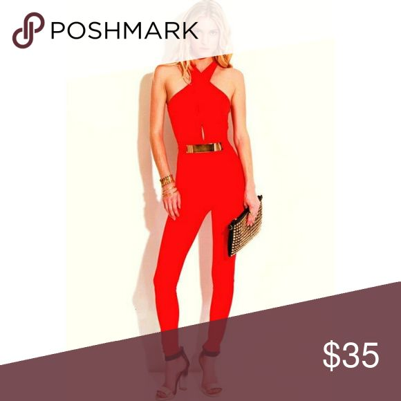 Lipstick red bodysuit TRENDY AND CUTE RED CATSUIT WITH ATTACHED GOLD BELT. SHOW OFF YOUR GORGEOUS BOD AND SUMMER TAN IN THIS CURVE-HUGGING JUMPSUIT! CRISS-CROSS DESIGN WITH CUT OUT AND GOLD BELT BEJEWELED WAIST MAKE THIS SEXY SUIT A TOTAL SHOW STOPPER. Other
