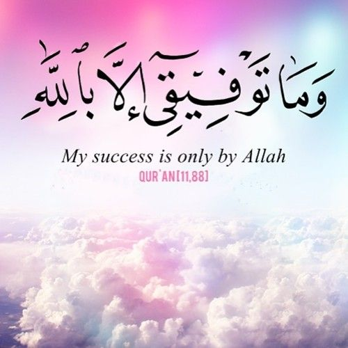 """""""My success is only by Allah"""" (11:88)"""