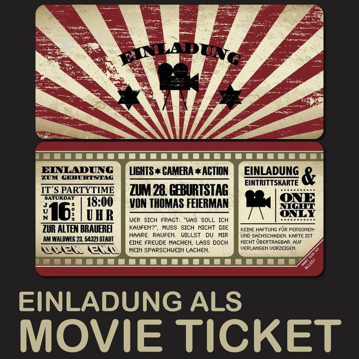 Kino Ticket Einladungskarten für Geburtstag & Hochzeit ...